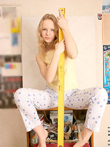 Blonde Skinny Nikol Seduced Partner with a Piece of Wood