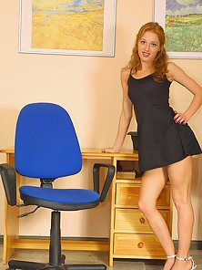 Redhead Chick Is Exposing Her Big Boobs and Tight Juicy Vagina in Office