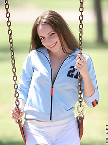 Brunette Charming Fair Teen Flashed Tits in the Park in Pleasure
