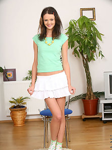 Cute and Sexy Brunette Chick Showed Smiling Face And Slim Body