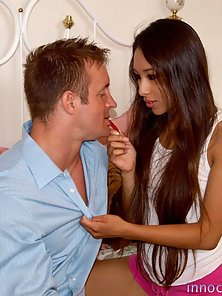 Naughty Guy Partner Crazily Fucking and Licking Cali Lee Shaved Cunt in Pleasuring Action