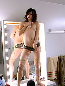 Cute Brunette Teen Striptease and Posing In Front Of the Mirror