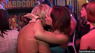 Hottest Slim Babes Dancing and Kissing Naughtily at Party