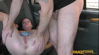 Sexy Young Chick Gets Her Pink Shaved Clit Hard Poked In Cab