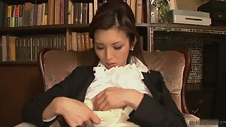 Naughty Asian Secretary Caressing Her Dripping Yummy Twat
