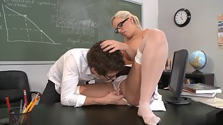 Blonde Schoolgirl Enjoys Twat Licking And Banging On Desk