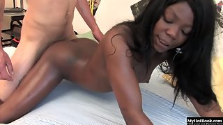 Hottest Ebony Maka Sucking Throbbing White Pecker on the Bed
