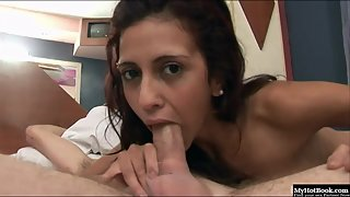 Skinny Latina Chick Gives Breathtaking Head on the Bed