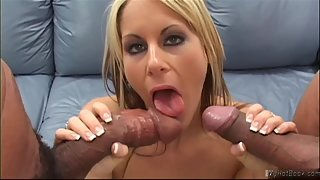 Skinny Blonde Enjoys Fucking with Two Huge Dicks