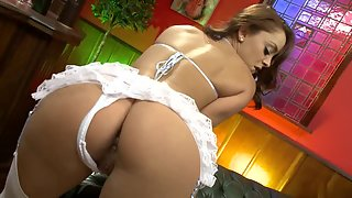 Big ass Liza posing in white lingerie and swallows warm jizz