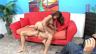 Busty Claudia Valentine licks and sucks dick for facial