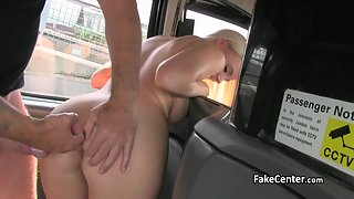 Young blonde gets finger and cock fucked hard in taxi
