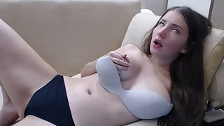 Attractive Brunette Nubile with Incredible Pleasure Rubbing Moist Muff