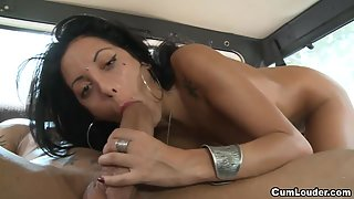 Beautiful Tattooed Young Babe Hard Banged in Car