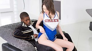 Flirty cheerleader Riley fucked by black bigcock