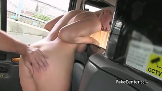 Busty Blonde Chick Hammered By Huge Cock in Taxi