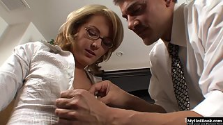 Blonde Amy Moore Got Fucked by Her Boss at Office with Pleasure