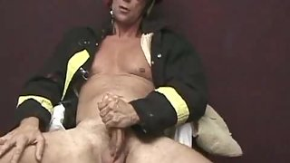 Muscled and Tall Fireman Brok Austin Hand Job His Dick in Naughty Action