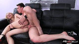 Tall skinny Olivia Grace ass nailed on black sofa