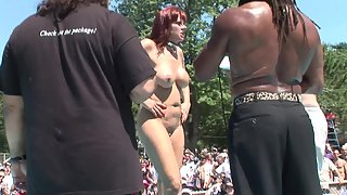 Lusty Redhead Lady in Public Ready to Reveal Her Pole Dance