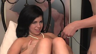 Dark Haired Beauty Fucked In Doggy Style after Sucking Dick