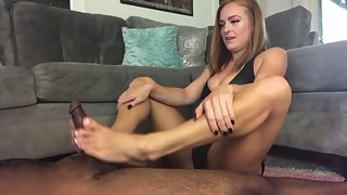 Sexy Brown Hair Babe in Black Bikini Gives Footjob to Fleshy Dick