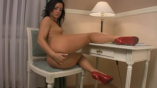 Shining Brunette Nubile Plays with Her Glistening Pink Cockpit