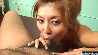 Alluring Slut Deeply Swallowing Lucky Penis on Webcam