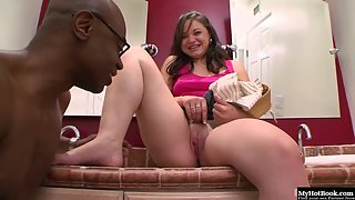 Beautiful Brunette Leenuh with Smiling Face Teasing Black Fucker