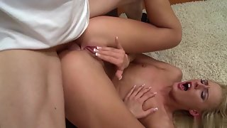 Skinny Blonde Chelsey Lanette Gets Wet Twat Licked on Couch