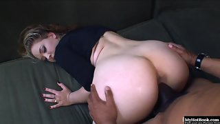 Charming Blonde Kiara Marie on Knees Blows Black Dick