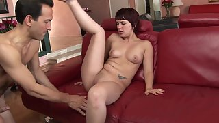 Short Hair Brunette Nubile Nicely Blows Pulsating Fleshy Phallus