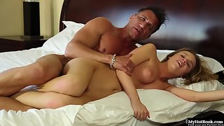 On White Bed Blonde Girl Gets Seduced and Licked by Stepdad