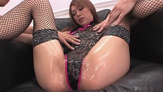 Passionate Asian Slut in Stocking Pleased by Magic Wang