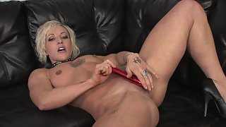 Lusty Blonde Slut Big Big Ass Teasing on Leather Couch