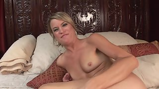 Small Boobs Girl Penetrated by Huge Dildo on Divan