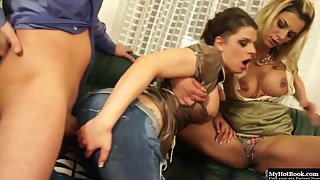 Stunning Wench in Jean Sucking Lucky Hard Dick of Manager