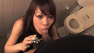 Asian Chick Gives Awesome Blowjob At Public Bathroom