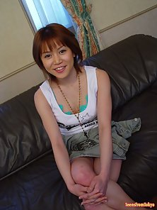 Japanese Teen Girl Over Couch squeezed and Dildo Fucking