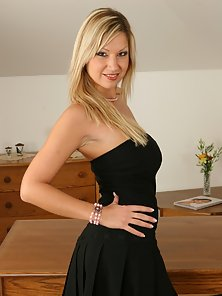 Blonde Babe in Black Dress Using Transparent Dildo to Her Tight Cunt
