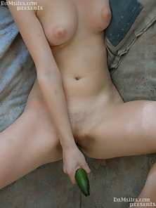 Cute Teen Sucking and Fucking To a Cucumber