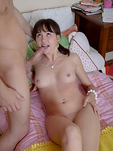Sexy Brunette Babe Naked Hammered On Bed after a Blowjob