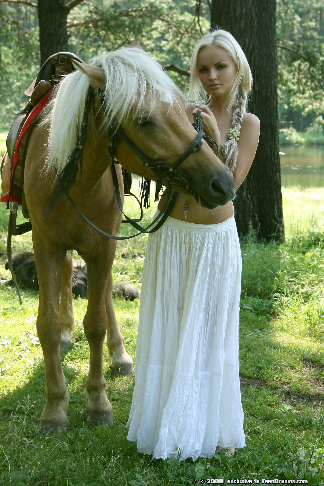Animal Babe Porn sexy white dressed babe naked horse riding action - young