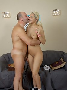 Pigtail Blonde Chick Gets Huge Kiss in Naked Body with Her Uncle