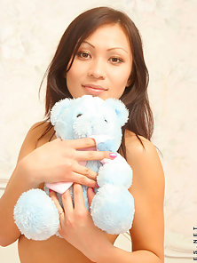 Horny Girl with Teddy Longing Enjoying the Pleasure of Sex in Excitement
