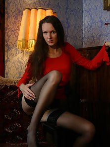 Black Stocking Cute Brunette Babe Showing Her Tight Vagina