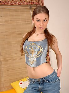 Brunette Babe Strips Dress and Shaved Twat Shows After Spread Sexy Legs