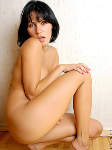 Brunette Sexy Babe Strips and Naked In Door for Her Partner
