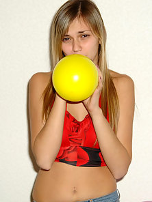 Cute Blonde Model Playing With Balloons in Nude Body