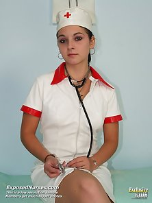 Smutty nurse gets naughty and plays with her wet pussy